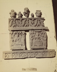 Buddhist sculptures from the monastery at Mian Khan, Peshawar District: various heads and relief scenes.